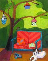 "Birdland Judy Feldman 14"" x 11"" oil on panel $390"