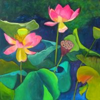 """Lotus Flower IV Judy Feldman 20"""" x 20"""" oil on canvas $875"""