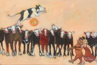 """The Cat Ran Away with the Spoon Ka Fisher  24"""" x 36"""" oil on canvas $1550"""