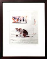 """Mind Over Matter Ka Fisher 17"""" X 13"""" drypoint/hand colored $450"""