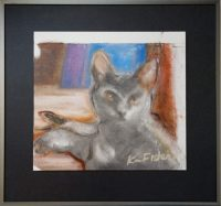 """The Cat Ka Fisher  19-1/4"""" x 20-3/4"""" oil on canvas $750"""