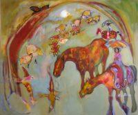 "Monarch Dreams Ka Fisher 48"" x 58"" acrylic on canvas $6900"