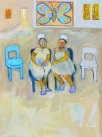 "The Cupcake Sisters Waiting Ka Fisher 48"" x 36"" acrylic on linen $3700"