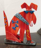 """Red Pup Sue Goldsand  9"""" x 8"""" x 3.5"""" glass $250"""