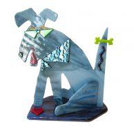 """Dog Sue Goldsand 8"""" x 7.5"""" x 4"""" glass $250"""