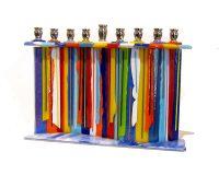 "Candle Drip Menorah Sue Goldsand 7"" x 10"" x 2.5"" glass, metal $300"