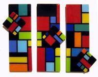 "A Spin on Mondrian (triptych) Sue Goldsand 23.5"" x 30"" glass $1200"