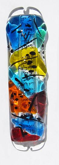 """Mezuzah Sue Goldsand 5"""" x 1.5"""" glass $85"""