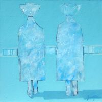"""Water Carriers Lance Green 36"""" x 36"""" oil on canvas $2800"""