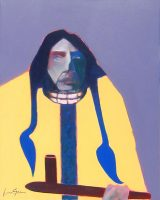 """Winter Indian Lance Green 30"""" x 24"""" acrylic on canvas $1600"""