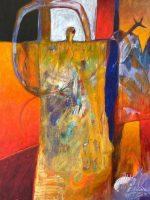 "Bird Shapeshifters Lance Green 40"" x 30"" acrylic on canvas $2800"