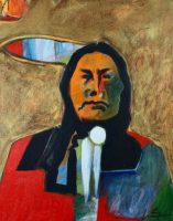 "Brave Lance Green 20"" x 16"" acrylic on canvas $950"