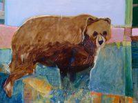 "River Bear Lance Green 30"" x 40"" acrylic on canvas $2800"