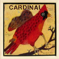 """Cardinal: What a Repertoire Melinda K. Hall 14"""" x 14"""" oil on canvas $1800"""