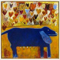 "Heart Dog: True Blue Melinda K. Hall  36"" x 36"" oil on canvas $5600"