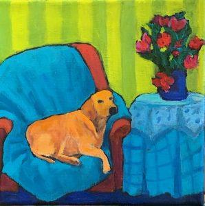 """Nap Time by Judy Feldman, 8"""" x 8"""", oil on canvas"""