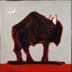 "Buffalo Roaming I by Michael Swearngin, 8"" x 8"", acrylic on canvas,"