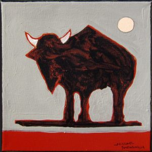 "Buffalo Roaming II by Michael Swearngin, 8"" x 8"", acrylic on canvas"