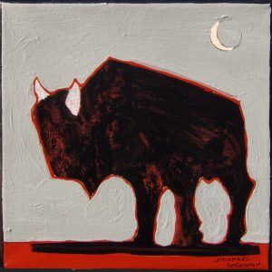 "Buffalo Roaming III by Michael Swearngin, 8"" x 8"", acrylic on canvas,"