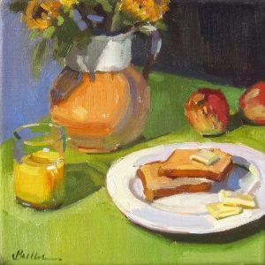 """Sunday Breakfast by Samantha Buller, 8"""" x 8"""", oil on canvas"""