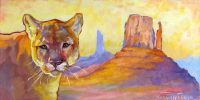 "Big Cat, Big Country Sarah Webber  20"" x 40"" mixed media $3500"