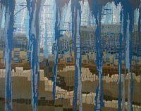 "Rain Melissa Johnson 48"" x 60"" acrylic on canvas $3900"