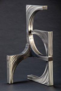 """Silver Wave by Ken Kasten, 35"""" x 17.5"""" x 19"""", polished steel w/ clear coat finish"""
