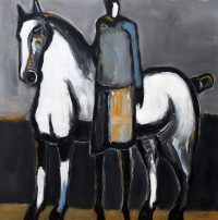White Horse w/ Standing Blue Rider