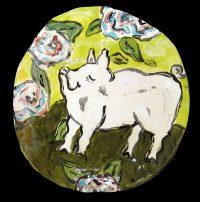 """Pink Piggie Plate Patricia Lazar 8"""" ceramic $48"""