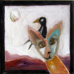 "Coyote and the Crow by Laurelea Kim, 8"" x 8"", oil and cold wax on canvas"