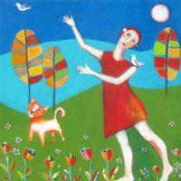 "Spring Moon Ana Marini-Genzon 12"" x 12"" acrylic on canvas $500"