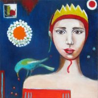 """Queen of Papers Ana Marini-Genzon 12"""" x 12"""" acrylic on canvas $500"""