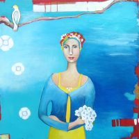 """White Flowers Ana Marini-Genzon 24"""" x 24"""" oil on canvas $1500"""