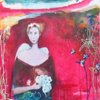 "The Visitor in the Dream's Garden Ana Marini-Genzon 24"" x 24"" oil on canvas $1500"
