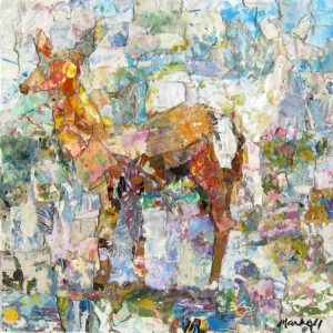 """Albino Deer in Spring by Alyson Markell 12"""" x 12""""mixed media on panel"""