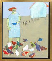 "Pet Chickens Peggy McGivern 26.25"" x 20.25"" oil on canvas $2300"