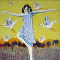 """Learning to Fly Peggy McGivern 12"""" x 12"""" oil on canvas $975"""