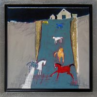 """They Play at Night Peggy McGivern 14.25"""" x 14.25"""" oil on canvas $975"""