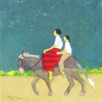 """To the Light of the Moon Peggy McGivern 12"""" x 12"""" oil on canvas $975"""