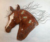 """Dragonfly Stallion Head Michelle MacKenzie 17.5"""" h x 21.5"""" w x (2.25"""" deep) ceramic, copper wire $750"""