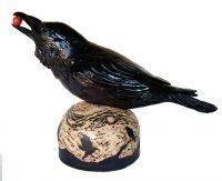 "Raven with Sgraffito Base Michelle MacKenzie 13"" x 20"" x 8"" ceramic $1100"