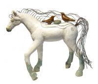 "Grace (White Shelter Horse) Michelle MacKenzie  12"" x 16"" x 6"" ceramic, copper wire $650"