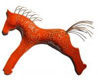 "Wall Horse Red Michelle MacKenzie 7"" x 10"" ceramic, copper wire $63"