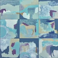 "Desert Ponies Tierney M. Miller 24"" x 24"" Mixed media on panels  $700"