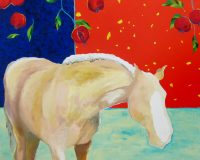 "Palomino with Pomegranates Tierney M. Miller 48"" x 60"" oil on canvas $6000"