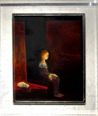 "Catnap Monika Rossa 13"" x 11"" oil on board in acrylic frame $425"