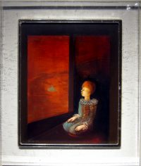 "Bird Out The Window Monika Rossa 13"" x 11"" oil on board in acrylic frame $425"