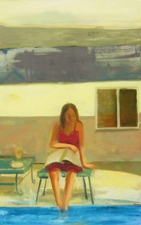 """Reading by the Pool Monika Rossa 48"""" x 30"""" oil on canvas $2500"""
