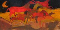 """Horses 2 Monika Rossa 47.5"""" x 97.5"""" oil on canvas $7900"""