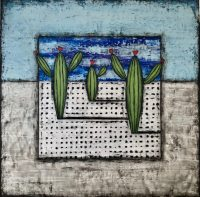 """Welcome to the Desert Nancy Pendleton 36"""" x 36""""mixed media on canvas $3150"""